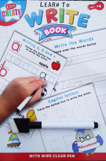 LEARN TO Educational Wipe Clean Book Writing Worksheets with Pen